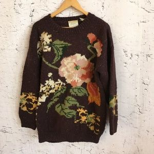 EXPRESS BROWN FLORAL WOOL SWEATER M